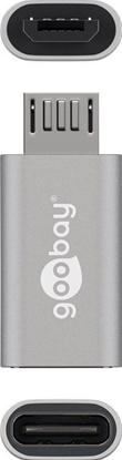Adapter USB-C >  microUSB 2.0 (typ B) srebrny 55552