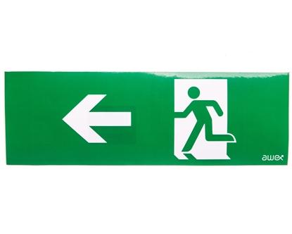 Piktogram 100x300 PM24 strzałka lewo człowiek w drzwiach logo awex (ISO7010)