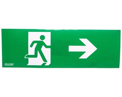 Piktogram 100x300 PM25 człowiek w drzwiach strzałka prawo logo awex (ISO7010)
