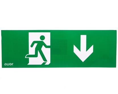 Piktogram 100x300 PM27 człowiek w drzwiach strzałka dół logo awex (ISO7010)