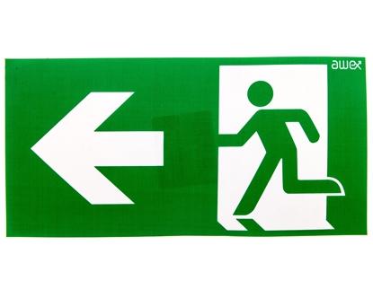 Piktogram 125x250 PS24 strzałka lewo człowiek w drzwiach logo awex (ISO7010)