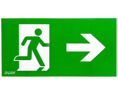 Piktogram 125x250 PS25 człowiek w drzwiach strzałka prawo logo awex (ISO7010)