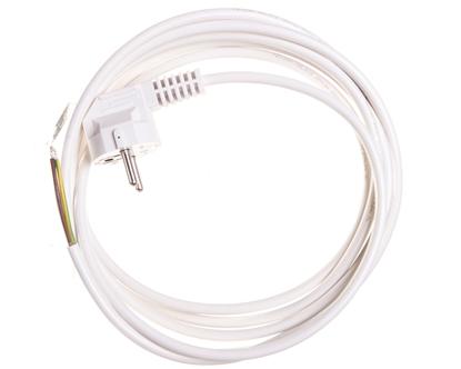 Przewód przyłączeniowy W-2 3x1,0 mm2 biały z wtyczką kątową 3m 51.925