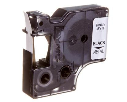Taśma poliestrowa do drukarek trwała 9mm x 5,5m czarna na metalicznym S0718170 18485