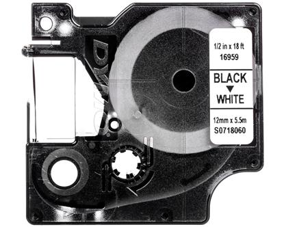 Taśma poliestrowa trwała do drukarek D1 12mm x 5,5m czarny/biały S0718060