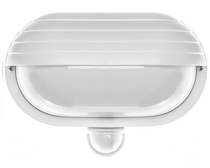 Oprawa oświetleniowa ścienna SAMUM z czujnikiem ruchu 180 stopni i przesłoną 60W E27 IP44 klosz mleczny biała OR-OP-304WE27ZMR