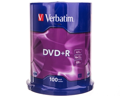 Płyta DVD+R VERBATIM 4,7GB x16 MATT SILVER /CAKE 100szt./