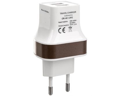 Ładowarka sieciowa 2 x USB 5VDC 2,1A OR-AE-1392