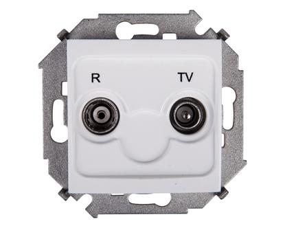 Simon 15 Gniazdo antenowe RD/TV przelotowe białe 1591489-030