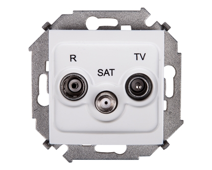 Simon 15 Gniazdo antenowe RD/TV/SAT przelotowe białe 1591467-030