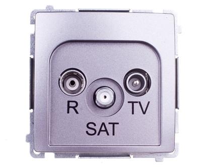 Simon Basic Gniazdo antenowe RTV/SAT przelotowe stal inox BMZAR-SAT10/P.01/21