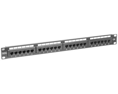 Patch panel kompletny 19 cali 24x RJ45 U/UTP kat. 6 1U czarny (RAL 9005) DN-91624U