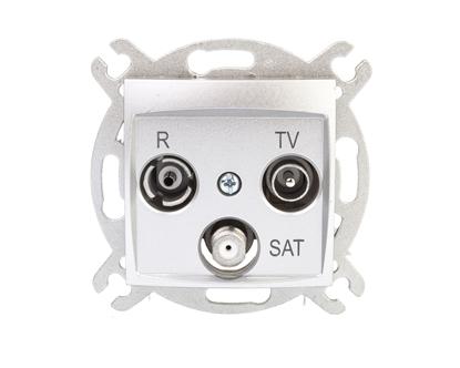 CARLA Gniazdo antenowe R-TV-SAT końcowe srebrne 1753-16