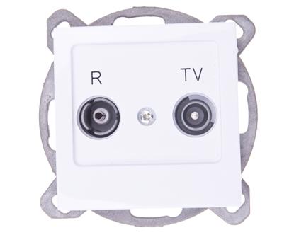AS Gniazdo antenowe RTV przelotowe 14dB białe GPA-14GP/m/00