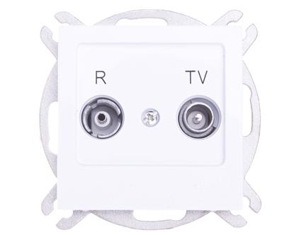 AS Gniazdo antenowe RTV przelotowe 16dB białe GPA-16GP/m/00