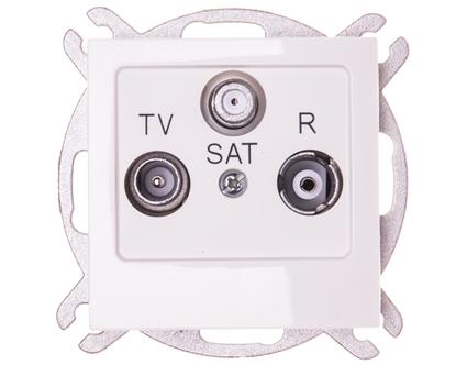 AS Gniazdo antenowe RTV-SAT przelotowe ecru GPA-GSP/m/27