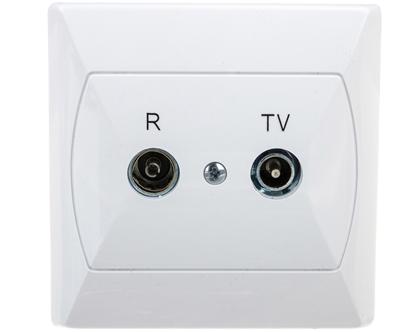 AKCENT Gniazdo antenowe RTV końcowe 2,5-3dB białe GPA-AK/00