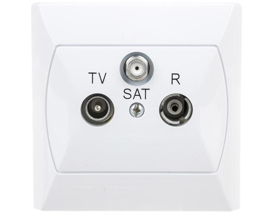 AKCENT Gniazdo antenowe RTV-SAT końcowe białe GPA-AS/00