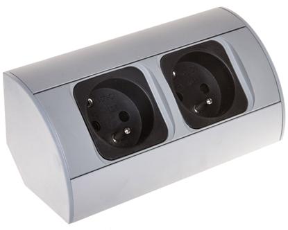 Gniazdo meblowe podwójne z/u 16A IP20 aluminium/ tworzywo OR-AE-1303