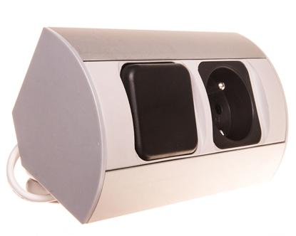 Gniazdo meblowe pojedyncze z/u 16A IP20 z wyłącznikiem aluminium/ tworzywo OR-AE-1302