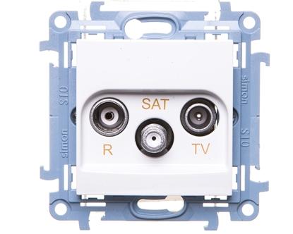 Simon 10 Gniazdo antenowe R-TV-SAT przelotowe białe IP20 CASP.01/11