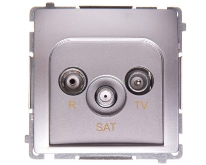 Simon Basic Gniazdo antenowe R-TV-SAT przelotowe srebrny mat BMZAR-SAT10/P.01/43