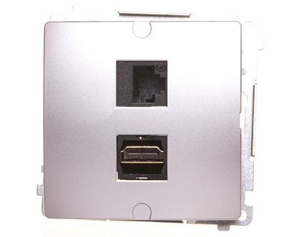 Simon Basic Gniazdo HDMI + RJ45 kat.6 srebrny mat BMGHRJ45.01/43