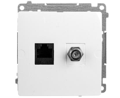 Simon Basic Gniazdo antenowe typu F + komputerowe RJ45 kat.6 białe BMAFRJ45.01/11