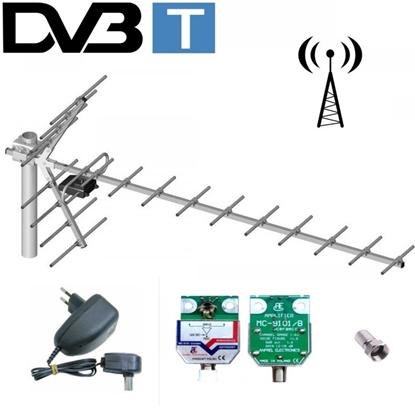 Antena DVB-T kierunkowa 19-elementowa YAGA + wzmacniacz LIBOX LB019W