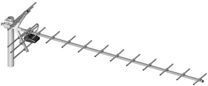 Antena DVB-T kierunkowa 19-elementowa + symetryzator LIBOX LB019S