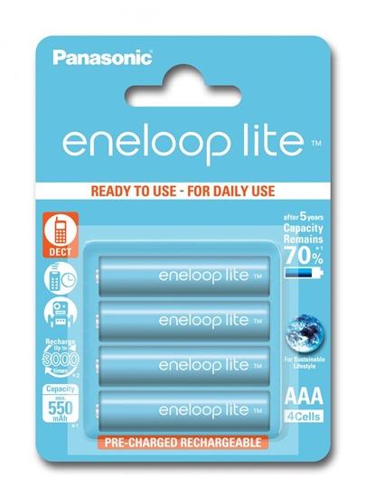 4 x akumulatorki Panasonic Eneloop Lite R03 AAA 550mAh BK-4LCCE/4BE (blister)