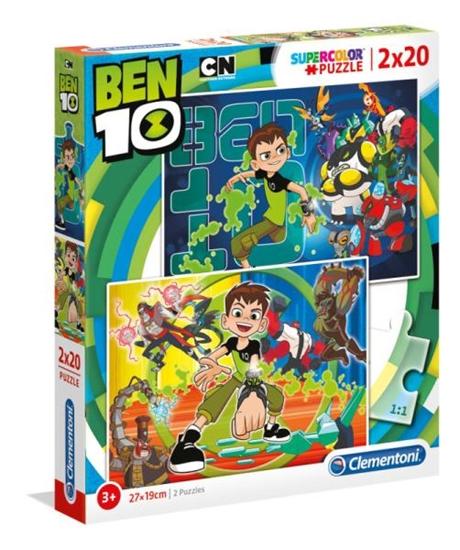 Clementoni Puzzle 2x20el Ben 10 07035 p6, cena za 1szt. (07035 CLEMENTONI)