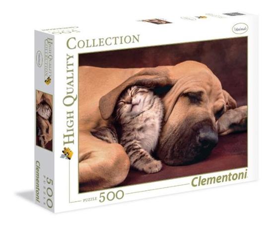 Clementoni Puzzle 500el HQ Fototeca: Pies z kotem 35020 (35020 CLEMENTONI)
