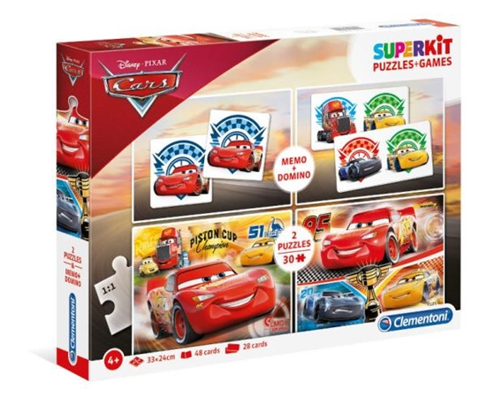 Clementoni Superkit 2x30el+Memo+Domino SL Auta 3 08215 (08215 CLEMENTONI)
