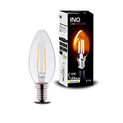 LAMPA LED  DECO 2 E14 ŚWIECZKA B35 EDISON 2W 220lm 2700K INQ