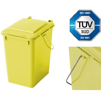 Kosz pojemnik do segregacji sortowania śmieci i odpadków - żółty 10L
