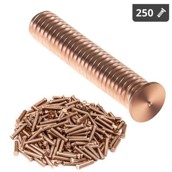 Kołki do zgrzewania zgrzewarki przypawarki ze stali miedziowanej M6 30mm Stamos Germany 250 szt.