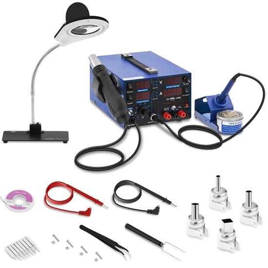 Profesjonalna stacja lutownicza z lampą powiększającą 3w1 USB Stamos Soldering S-LS-22