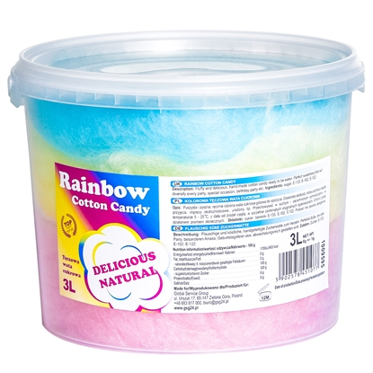 Kolorowa tęczowa wata cukrowa Rainbow Cotton Candy 3L