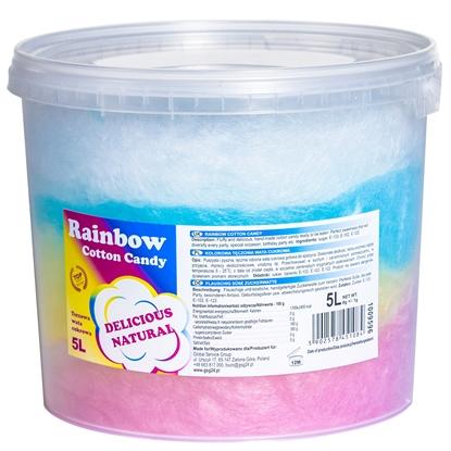 Kolorowa tęczowa wata cukrowa Rainbow Cotton Candy 5L