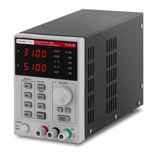 Zasilacz laboratoryjny z funkcją pamięci 0-30VDC 0-5A USB / RS232 + CD S-LS-31