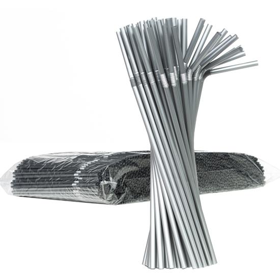 Słomki do napojów łamane 5/240mm - srebrne 1000szt.