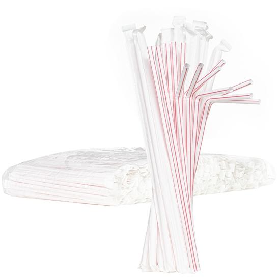 Słomki do napojów łamane 6/240mm pakowane pojedynczo w papier - białe w czerwone paski 500szt.
