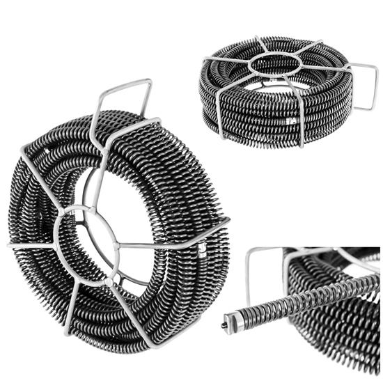 Spirala przepychacz sprężyna do rur hydrauliczna 6 x 2.45 m śr. 16 mm ZESTAW