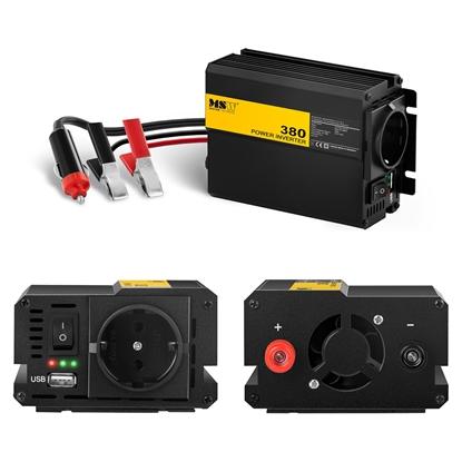 Przetwornica napięcia samochodowa do akumulatora 380W + Adapter do gniazdka zapalniczki