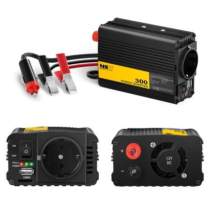 Przetwornica napięcia samochodowa do akumulatora 300W + Adapter do gniazdka zapalniczki