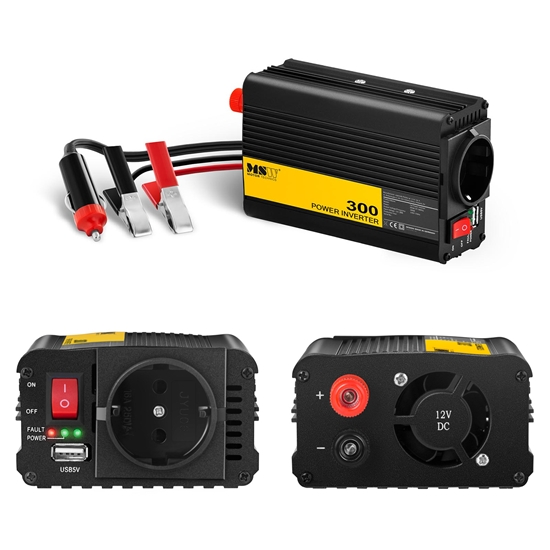 Przetwornica napięcia samochodowa do akumulatora 300/600W + Adapter do gniazdka zapalniczki