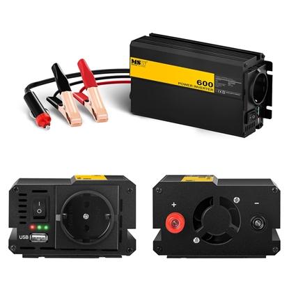 Przetwornica napięcia samochodowa do akumulatora 600W + Adapter do gniazdka zapalniczki