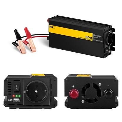 Przetwornica prądu napięcia samochodowa do akumulatora 12V 230V USB 800W