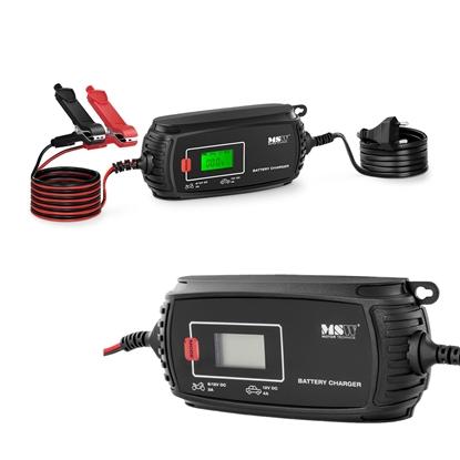 Prostownik akumulatorowy samochodowy z ekranem LCD 70 W 6/12 V 2/4 A